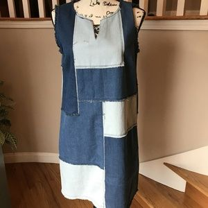 Nanette Lepore NWT Patchwork Denim Shift Dress S